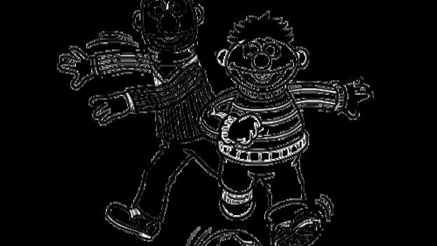 Sesamstraat Bert en Ernie voetballen