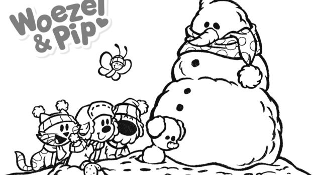 Sneeuwpret met Woezel en Pip