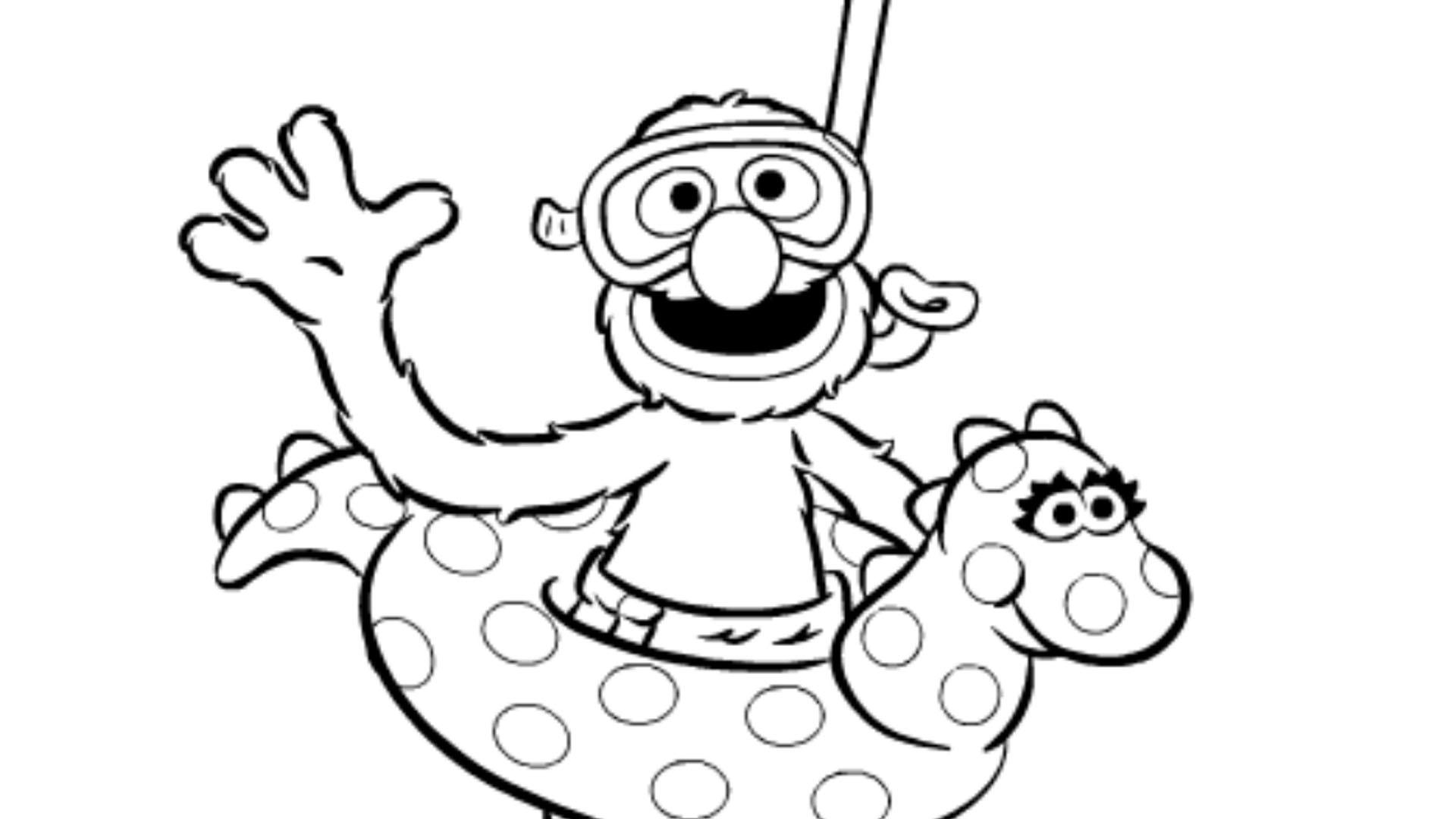 sesamstraat grover zwemt kleurplaten diy zappelin