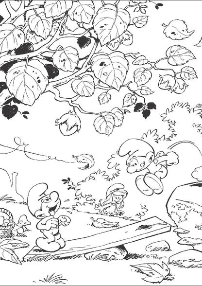 Kleurplaten Herfst.Kleurplaat Herfst In Smurfenland Kleurplaten Diy Zappelin