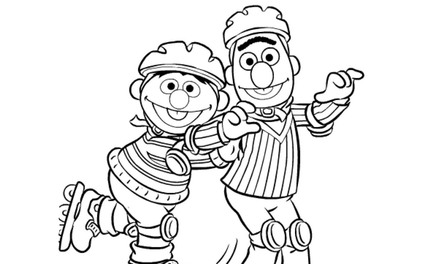Sesamstraat - Bert en Ernie rolschaatsen