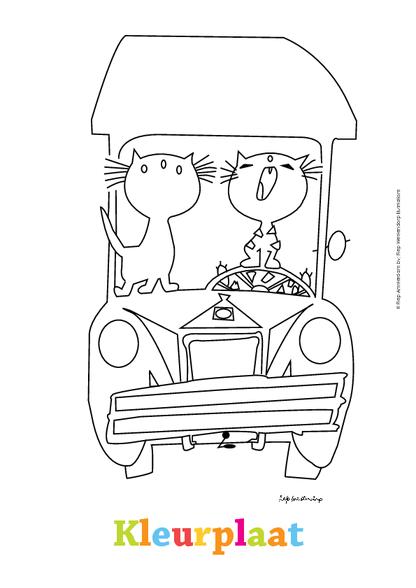 kleurplaat pim pom in de auto kleurplaten diy