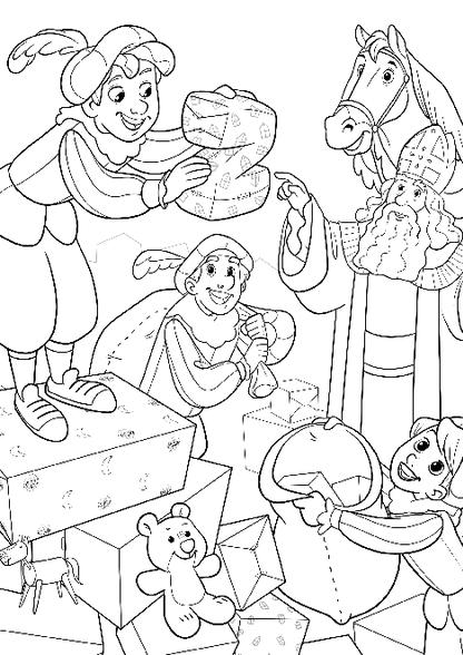 Sinterklaas Kleurplaten Actie.Kleurplaat Sinterklaas Pieten Pakken Cadeautjes In Kleurplaten