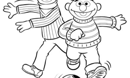 Kleurplaat: Sesamstraat - Bert & Ernie voetballen