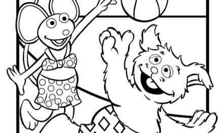Kleurplaat: Sesamstraat - Tommie & Ieniemienie spelen buiten
