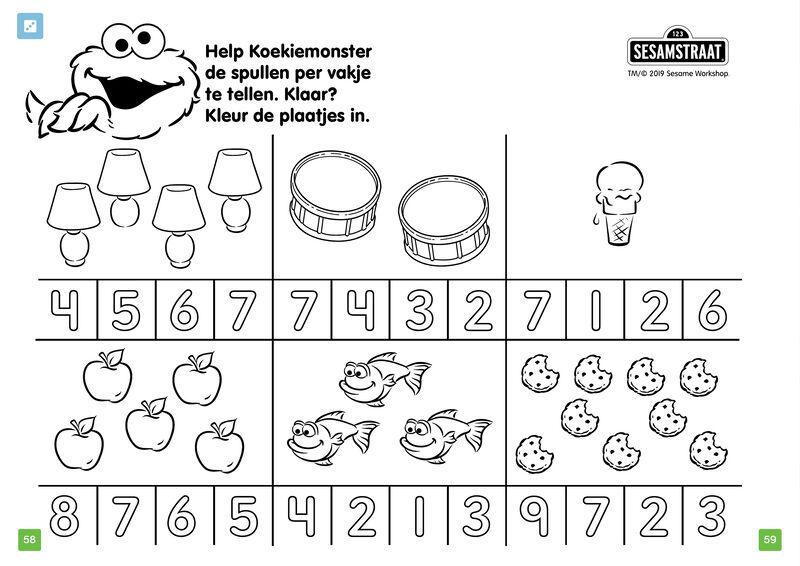 Koekiemonster - tellen en kleuren
