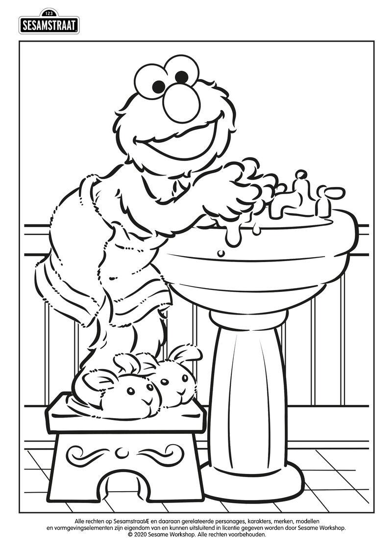 Elmo wast zijn handen