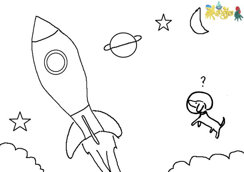 De Handjes - Kleurplaat raket