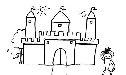 De Handjes - kleurplaat kasteel