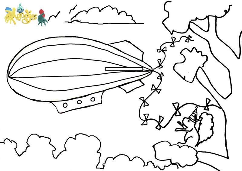 De Handjes  - kleurplaat zeppelin