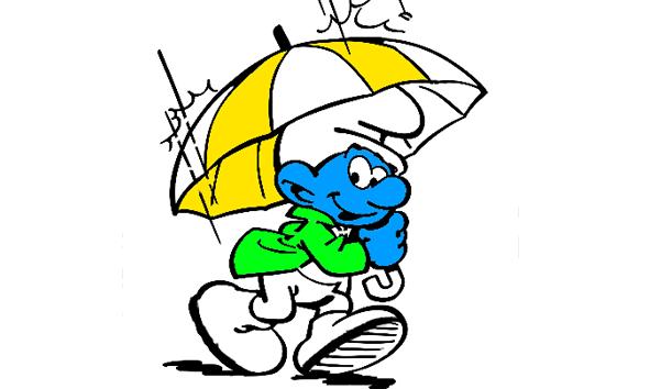 Smurf in de regen