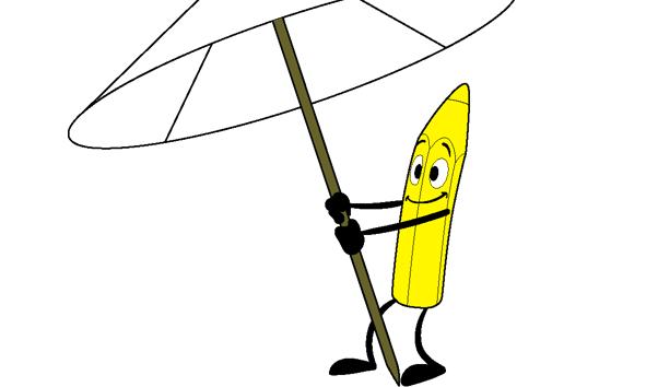 Potlood onder parasol